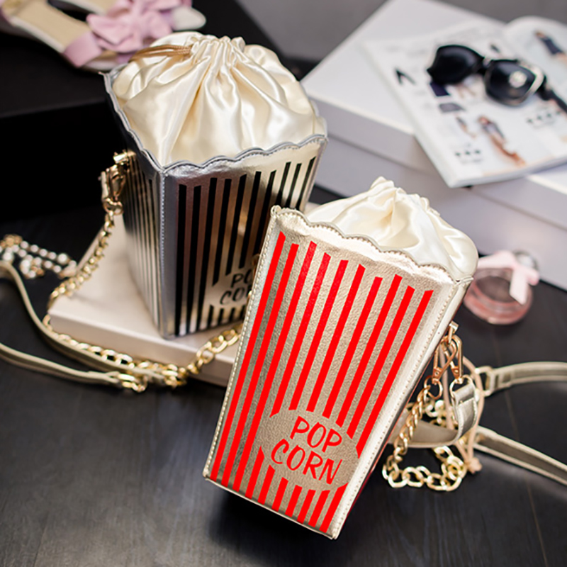 Cartoon Popcorn Women Watermelon Mini Bags Small Popcorn Chain Clutch Crossbody Girl Shoulder Messenger Bag Purse Fruit Colors cartoon women ice cream cupcake mini bags casual pu leather small chain clutch crossbody girl shoulder messenger bag bolsa