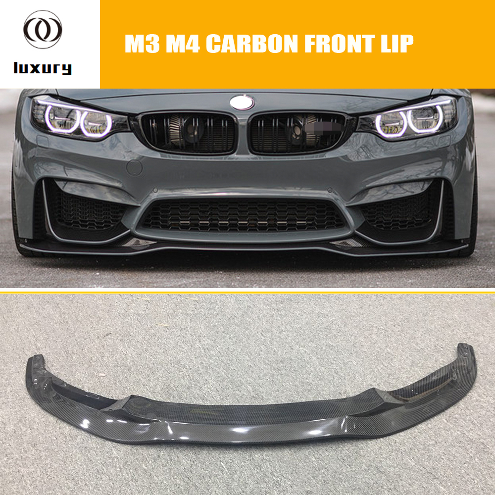 F80 F82 F83 PSM Styling Carbon Fiber Front Lip for BMW F80 F82 F83 M3 M4 2012 - 2018 Auto Racing Car Front bumper Lip Spoiler image