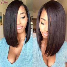 Silk Straight Brazilian Virgin Hair Bob Style Full Lace Wig & Lace Front Wig Natural Color Short Hair Human Hair Wigs