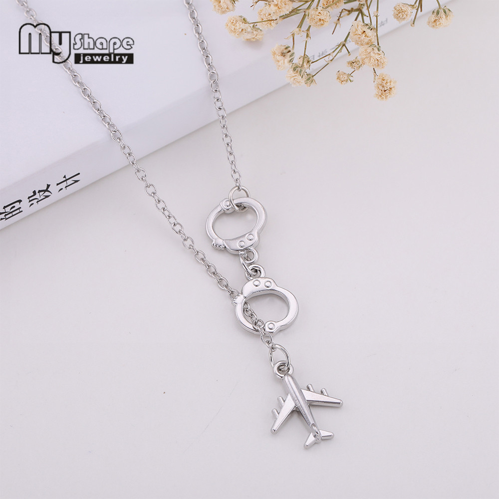 My Shape Silver Plated Airplane Link Chain Necklace Handcuffs Knot Choker Punk Style for Female Fashion Jewelry image