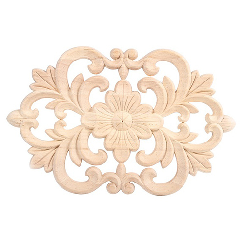 practical boutique 1x rubber wood carved onlay applique unpainted furniture for home door cabinet decoration wood color