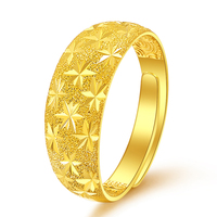 Pure 24K Yellow Gold Ring 999 Gold Women Sandstone Full Star Ring