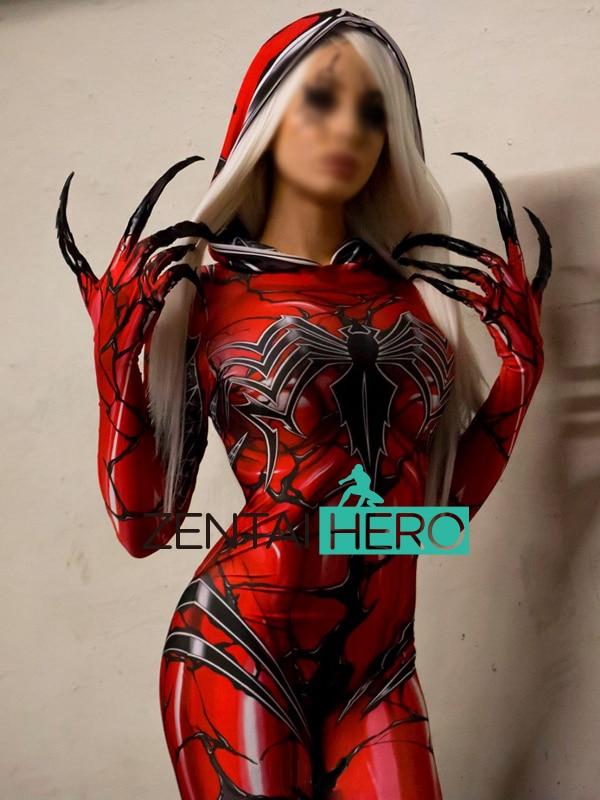 Free Shipping 3D Printed Carnage Gwen <font><b>Spidergirl</b></font> Cosplay <font><b>Costume</b></font> Hooded Zentai Bodysuit <font><b>Spiderman</b></font> Tight Catsuit Cosplay <font><b>Costume</b></font>