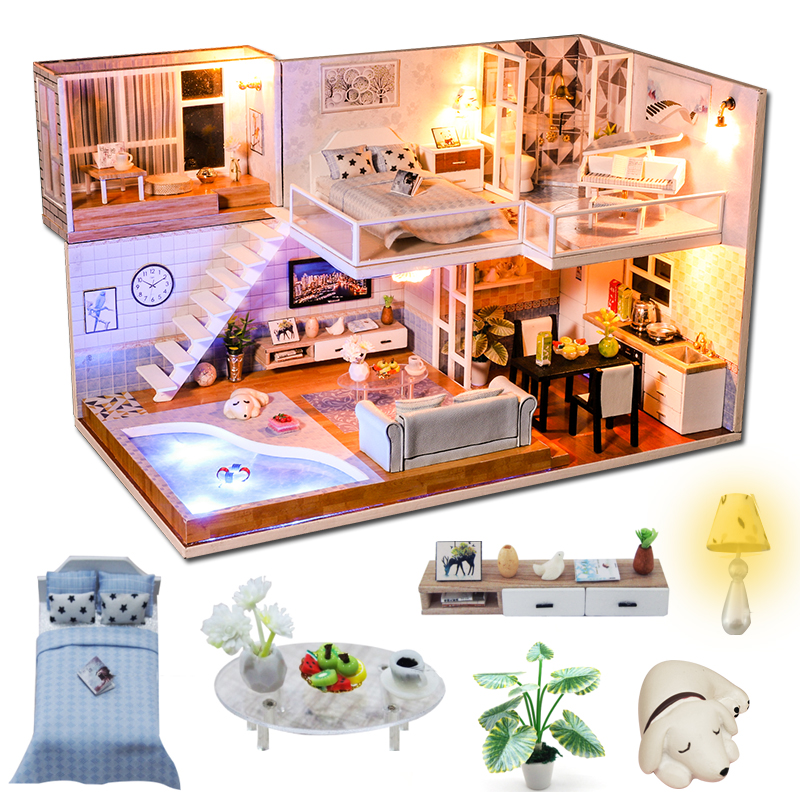 Cutebee DIY House Miniature With Furniture LED Music Dust Cover Model Building Blocks Toys For Children Casa De Boneca  J16