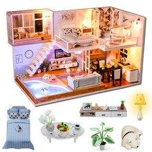 Cutebee DIY Haus Miniatur mit Möbel LED Musik Staub Abdeckung Modell Bausteine Spielzeug für Kinder Casa De Boneca J16