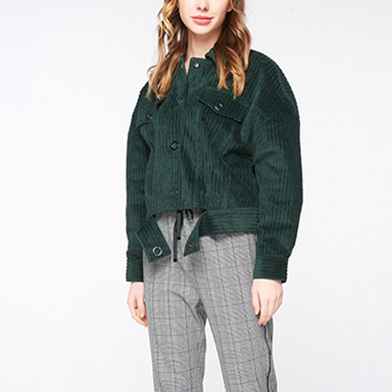 HEE GRAND Vintage Corduroy Jacket Female 2019 Spring Women Long Sleeve Basic Jacket Fashion Green Lace up Short Outerwear WWJ946