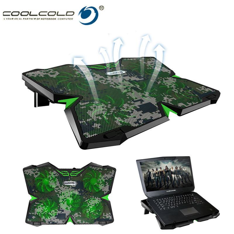Coolcold IIS Cooling Pad Aluminum Laptop Cooler Cooling Pad Stand 5 Fans Laptop Notebook Cooler USB Port For Macbook Pro 17 inch notebook cooling pad blue led laptop cooler 5 fans 2 usb port stand pad for laptop 10 17 pc usb cooler for notebook usb cord