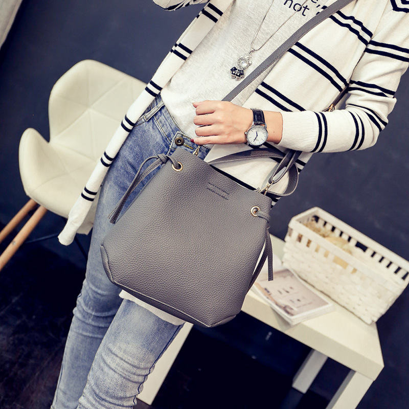 Women Leather Handbags Black Bucket Shoulder Bags Ladies Cross Body Bags Large Capacity Ladies Shopping Bag Bolsa forudesigns casual women handbags peacock feather printed shopping bag large capacity ladies handbags vintage bolsa feminina