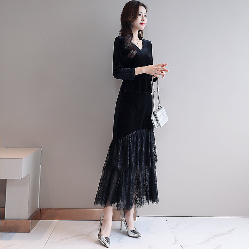 봄 새로운 패턴 긴 소매 슬림 벨벳 드레스 야생 추세 간단한 성격 패션 v 목 발목 길이 레이스 긴 드레스-에서드레스부터 여성 의류 의  그룹 1