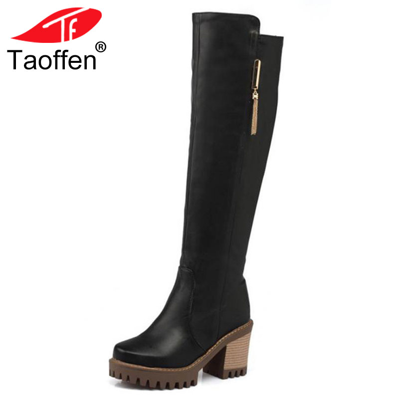 TAOFFEN Women Square Heel Knee Boots Vintage Zipper Heeled Bota Feminina Woman Warm Fur Winter Shoes Footwear Size 34-43 women real genuine leather square low heel over knee boots woman square toe warm winter shoes heeled footwear size 34 39