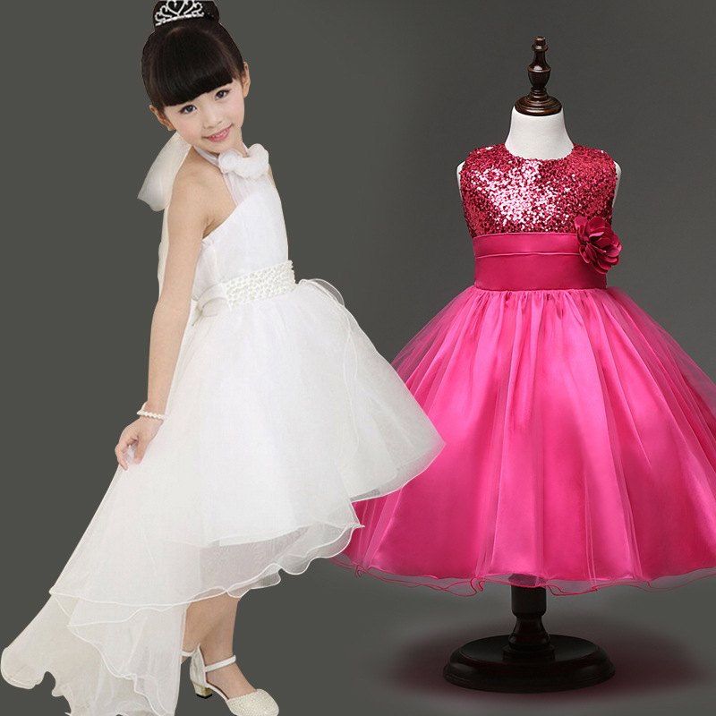 2-8Y Kids Gauze Pearl Tee Dresses for Teenage Girls Children Party Wedding Dress Clothing for Teens Vestidos Princess Ball Gown summer 2017 new girl dress baby princess dresses flower girls dresses for party and wedding kids children clothing 4 6 8 10 year