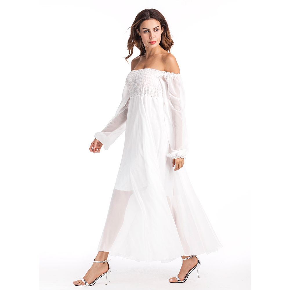 White Beach Womens Dress Solid Off the Shoulder Chiffon Vestido Mujer Elastic Waist Full Sleeves Dresses Branco Vestidos N2E225