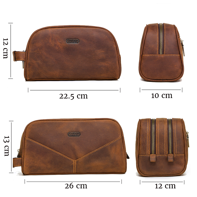 Image 4 - CONTACT'S genuine leather cosmetic bag for men vintage crazy horse leather man make up bags small travel bags male toiletry bag-in Cosmetic Bags & Cases from Luggage & Bags
