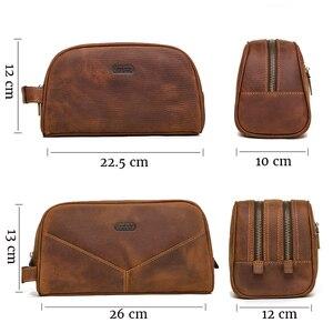 Image 4 - CONTACTS oryginalna skórzana kosmetyczka dla mężczyzn vintage skóra crazy horse man makijaż torby małe torby podróżne męskie kosmetyczka