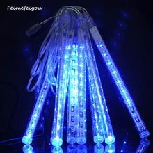Feimefeiyou 20CM 8pcs 80led Meteor Shower Rain LED Light Tube String Lights Decoration Tree Party Valentine Multi Color