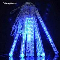 Feimefeiyou 20 cm 8 unids 80led LED lluvia de meteoros lluvia tubo de luz luces de la secuencia del partido del árbol de la decoración de San Valentín multi color