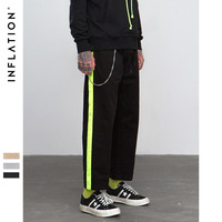 INFLATION Fluorescence Side Straight Casual Pants Streetwear Hip hop Swag Loose Fit Cargo Pants Cotton Brand Trousers 8863W