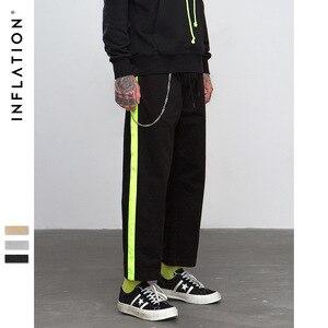 Image 2 - Pantalones rectos informales por los lados de fluorescencia inflados, ropa de calle, estilo Hip hop, pantalones holgados de corte Cargo, pantalones de marca de algodón de 8863W