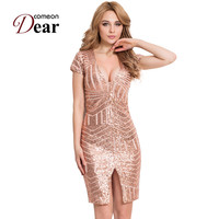 R80202 Hot Sale Women Bodycon Dress V Neck Sleeveless Knee Length Sexy Club Dress 2016 Rose