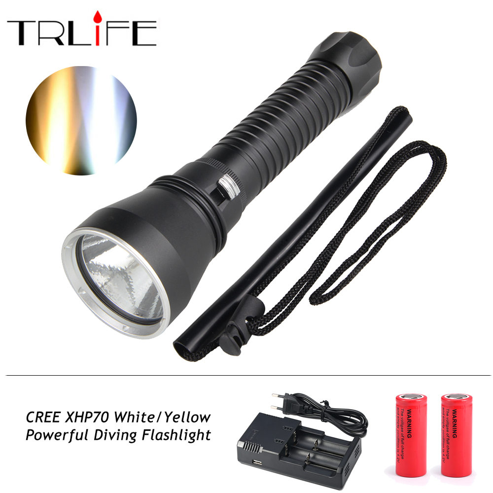 XHP70 Diving Flashlight White/ Yellow Waterproof Powerful LED Torch 3000K 6000K Use 26650 Battery kinklight 08219b 01 3000k 6000k