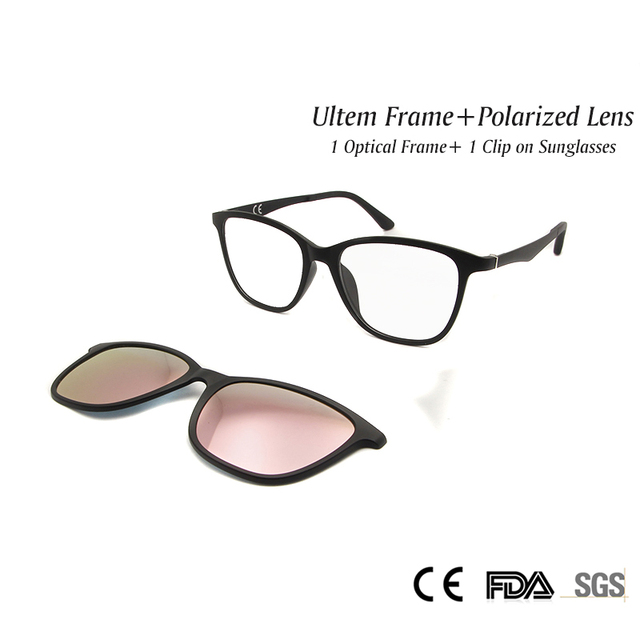 76960a1475 Fashion Ultem Womens Eyeglass Frames with Clip on Sunglasses Polarized Revo  Pink Mirrored Lenses Shadow UV400
