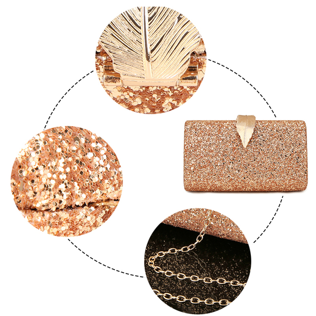 Fashion Sequined Clutch Women's Evening Bags Bling Day Clutches Gold Color Metal Leaf Lock Wedding Purse Female Handbag 5