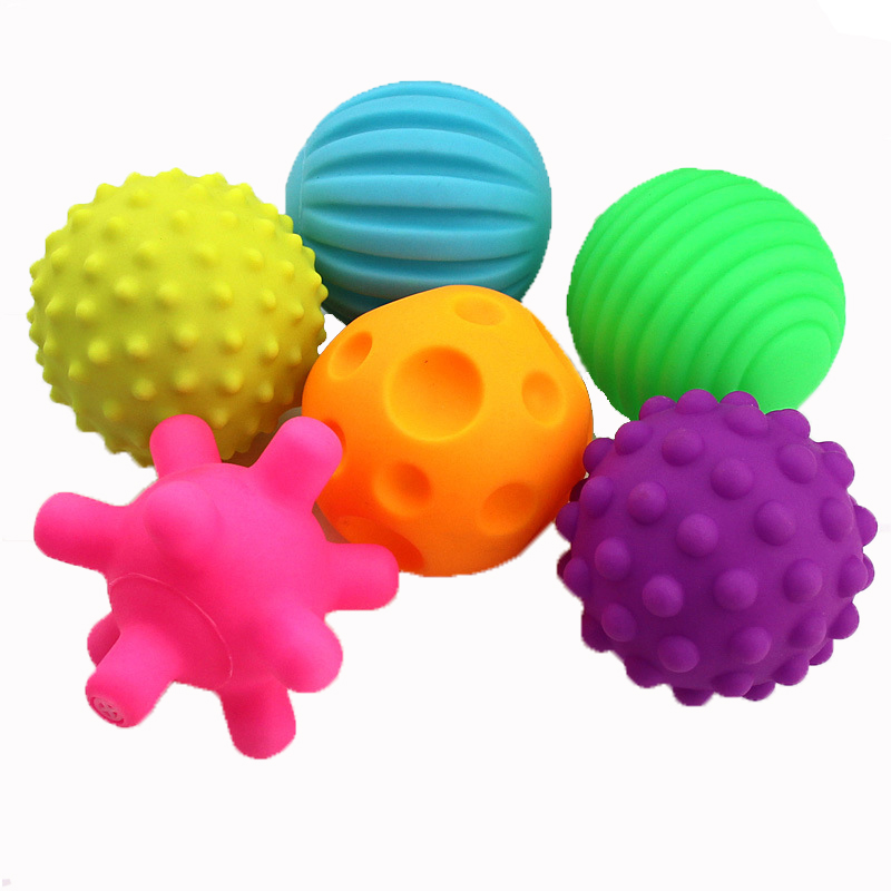 6Pcs/Set Textured Ball Baby Toys Super Soft Develop Baby's Tactile Senses Squeeze Toy Educational Early Rattle Activity Toys