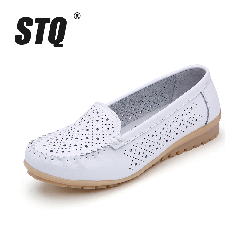 2018 Spring women flats shoes women genuine leather shoes woman cutout loafers slip on ballet flats ballerines flats 1