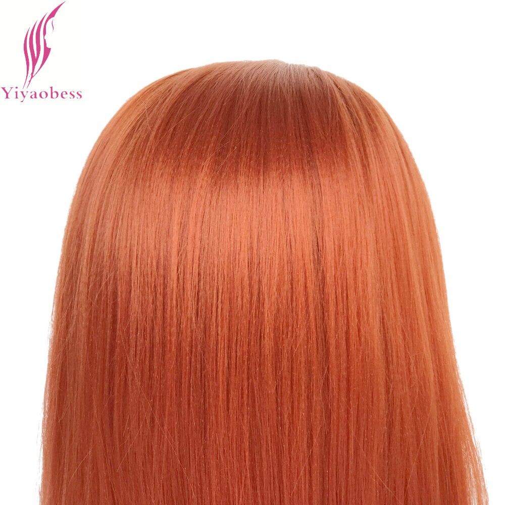 Yiyaobess Straight Syntetisk Snörning Fram Paryk Lång Orange Hår - Syntetiskt hår - Foto 4