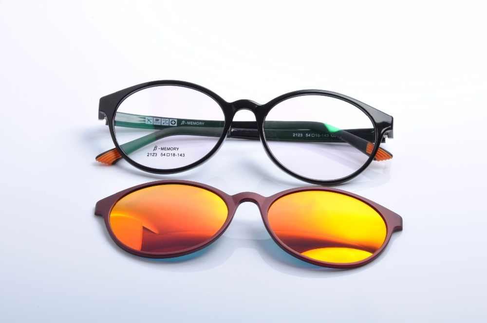 ae3966275bf DEDING Round unisex myopia optical frame with polarized sun lens for men  and women magnet fashion