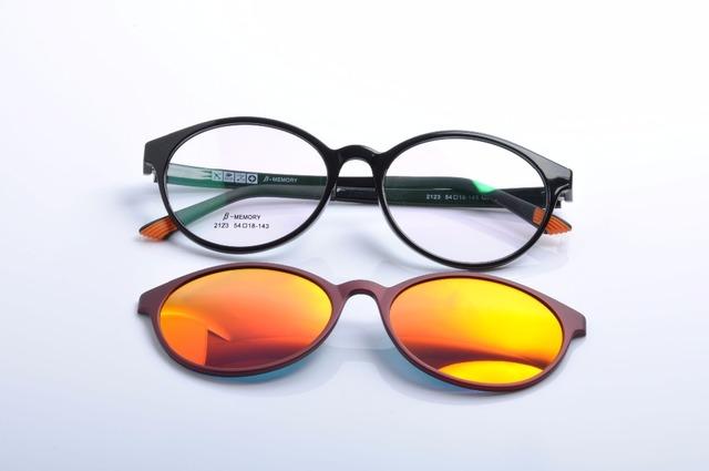 DEDING Redondo unisex miopía marco óptico con lente polarizada gafas de sol para hombres y mujeres imán clip de moda en gafas de sol DD1407