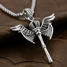 925 Sterling Silver Angel Wing Scepter Crown Mens Biker Pendant 8X022(Necklace 24inch)