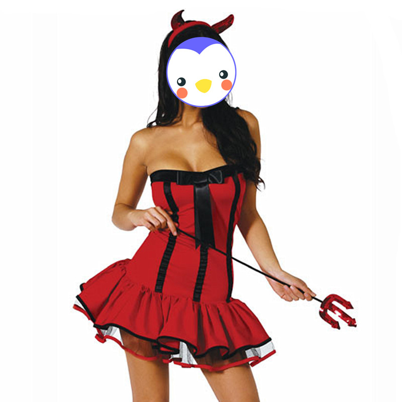 Halloween Devil Costumes For Women High Quality Sexy Red -7813