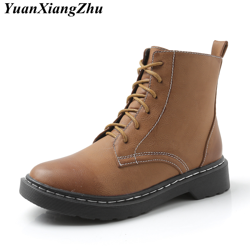 2018 Winter Boots Women Martin Boots Plus Size Shoes For Woman Dr Martins Fashion Vintage Ankle Boots Female Leather Botas Mujer 2018 high quality handmade thick heel women shoes genuine leather women boots martins winter vintage ankle boots botas mujer