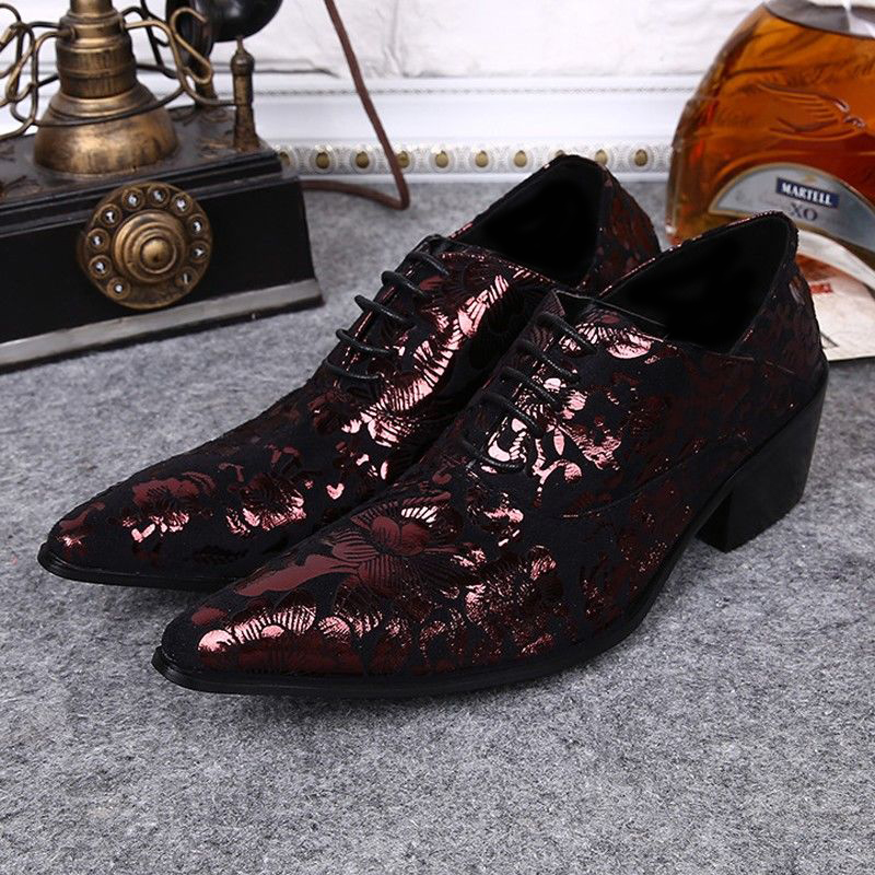 Plus Size Italian Style Pointed Toe Man Modern Oxfords Genuine Leather High Heels Men's Formal Dress Wedding Party Shoes SL337 plus size 2016 new formal brand genuine leather high heels pointed toe oxfords punk rock men s wolf print flats shoes fpt314