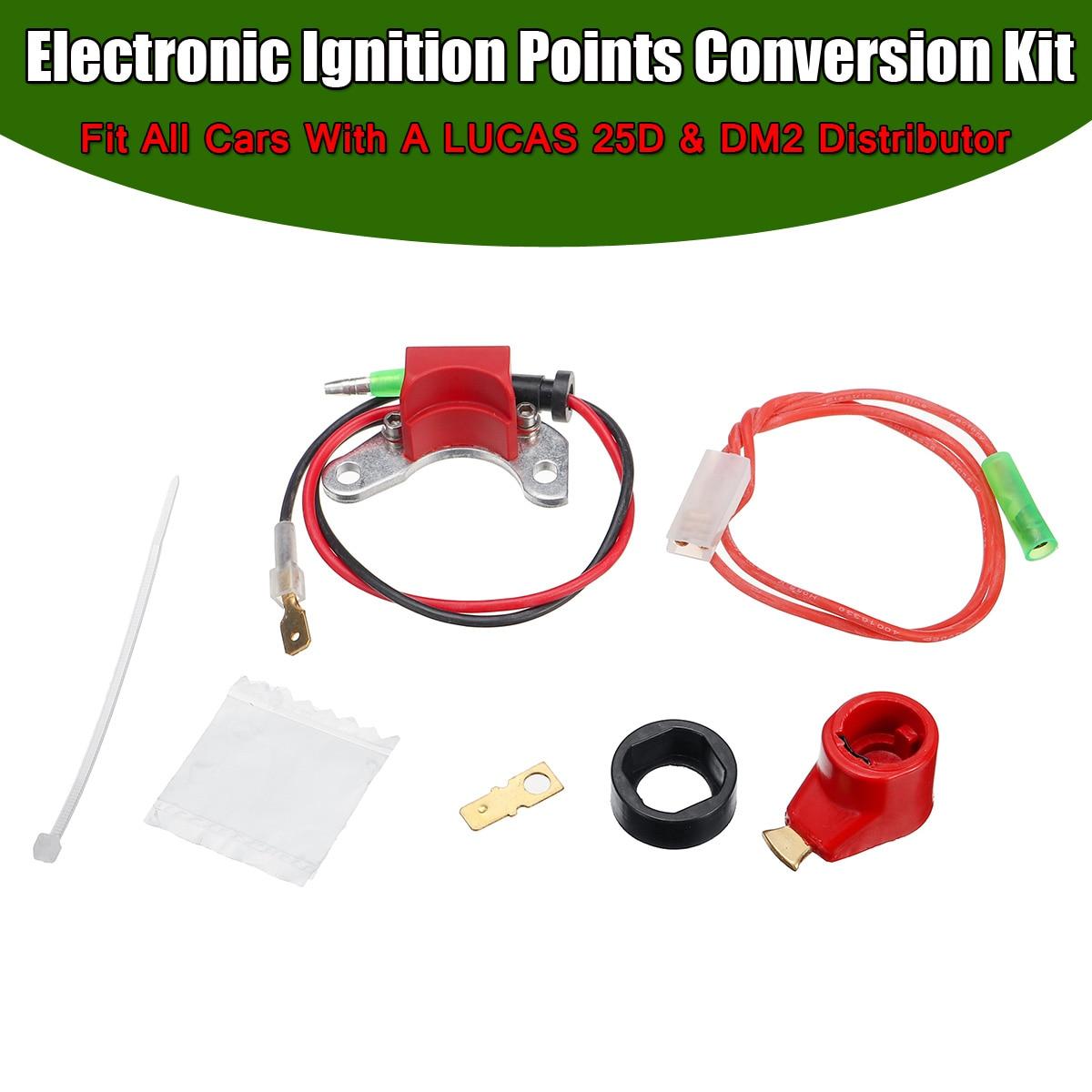 EEN Set Elektronische Ontsteking Punten Conversie Distributeur Coil Kit Fit Alle Auto 'S Voor LUCAS 25D + DM2 Distributeur