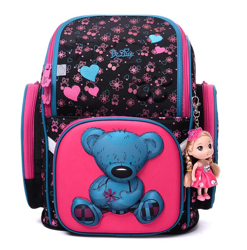 2018 Delune Brand New Girls School Bags 3D Cute Owl Cartoon Pattern Orthopedic Kids Backpack Children Schoolbag Mochila Infantil 2018 kids new brand foldable schoolbag girls cute 3d cartoon school bags children orthopedic waterproof school backpack for boys