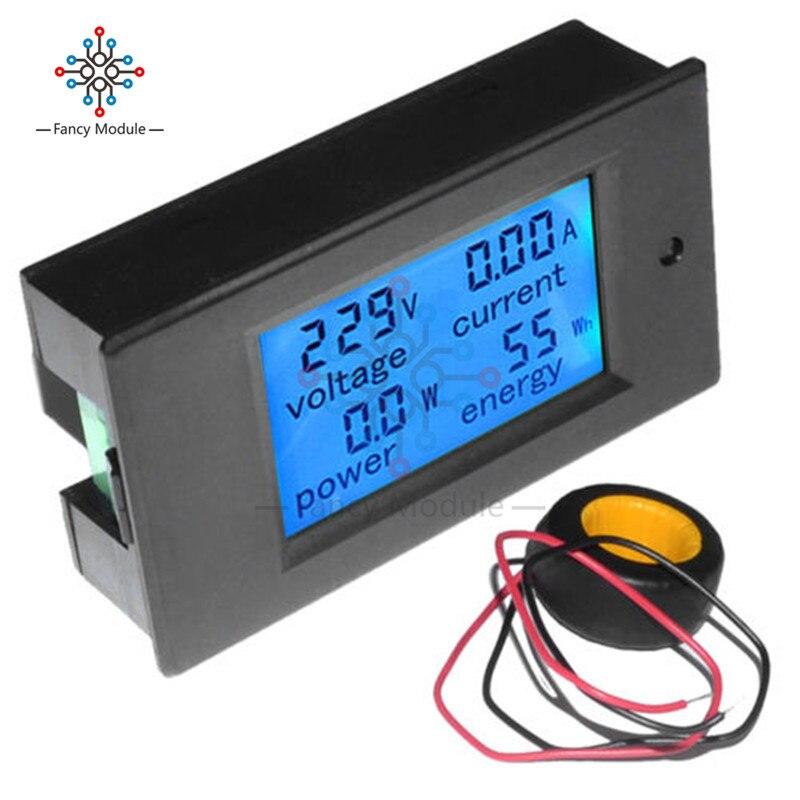 Medidor atual do voltímetro do amperímetro do watt dos ampères do medidor do volt lcd monitor da tensão da c.a. de digitas medidores 100a 80-260 v de energia