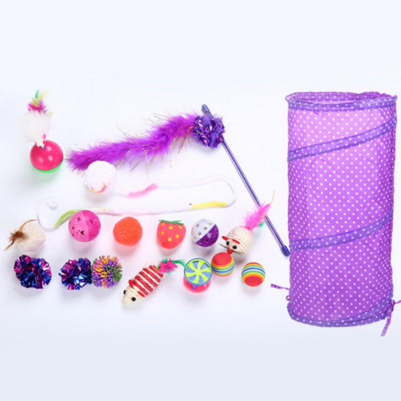 20pc Cat Toys Kit Pet Sisal (Catnip) Material Bell Feather Mice Shape Toy Kitten Interactive Play Supplies 2018