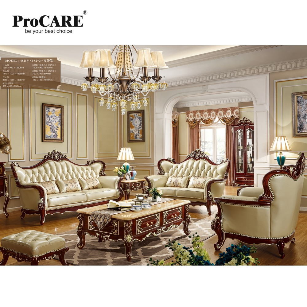Luxury european and american style classic leather fabric sofa sets for house from foshan city furniture