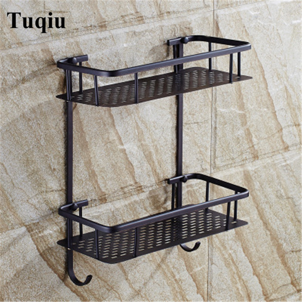 Bathroom Shelves copper dual Tiers Corner Shelf Shower Caddy Storage Shampoo Basket Wall Kitchen Corner Sticky Holder vehhe kitchen basket bathroom rack sector corner wall shelf plastic shower shampoo holder storage shelves multifunctions ve226