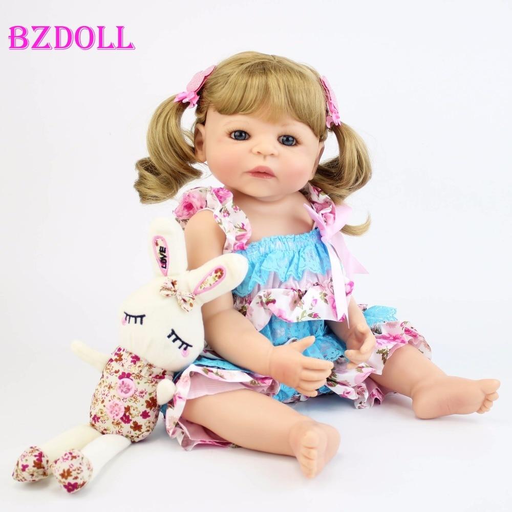55cm Full Silicone Vinyl Reborn Baby Doll Toys Girls Bonecas 22inch Newborn Blonde Princess Bebe Alive