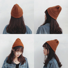 Korean Edition Woollen Hat Young Students Pure Color Couple Autumn Winter Warm Knitting