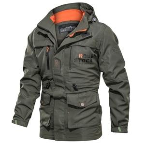 Image 1 - new Bomber Jacket Men Autumn Winter Multi pocket Waterproof Military tactical Jacket Cap Windbreaker Mens Coat Outdoor stormwear