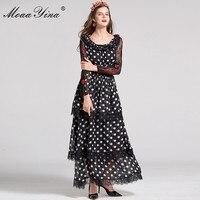 MoaaYina מסלול אופנה נשים באביב שמלת טלאי רקמת תחרה נקודת גל שרוול ארוך עלו חוט נטו שמלת המותניים אלסטית