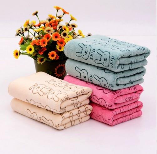 Cartoon Absorbent  Face Wash Towel Nano-microfiber Children's Handkerchief Small Hand Towel Cute Rabbit Style Random Color