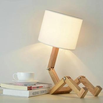 Lampu Meja 220V E27 Robot Modern Kayu Kreatif Berbentuk Fleksibel Adjustable Lipat Samping Tempat Tidur Lampu Lampu Baca