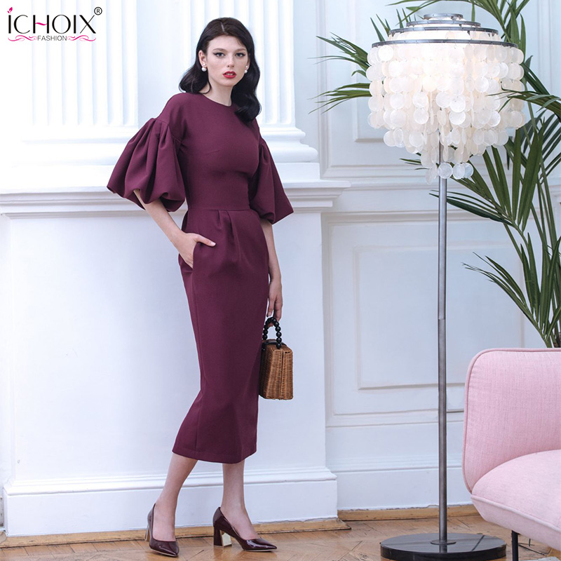 2019 Autumn Long Dress Women Puff Sleeve Female Elegant Evening Party Maxi Dress Pink Red Lady Office Bodycon Long Dress Vestido