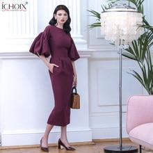 2019 Autumn Long Dress Women Puff Sleeve Female Elegant Evening Party Maxi Dress Pink Red Lady Office Bodycon Long Dress Vestido