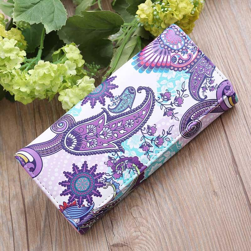 New Arrival Women Female PU Leather Long Purse Ladies Girls Vintage Floral Printing Card Holder Coin Bag Wallet Handbag Popular